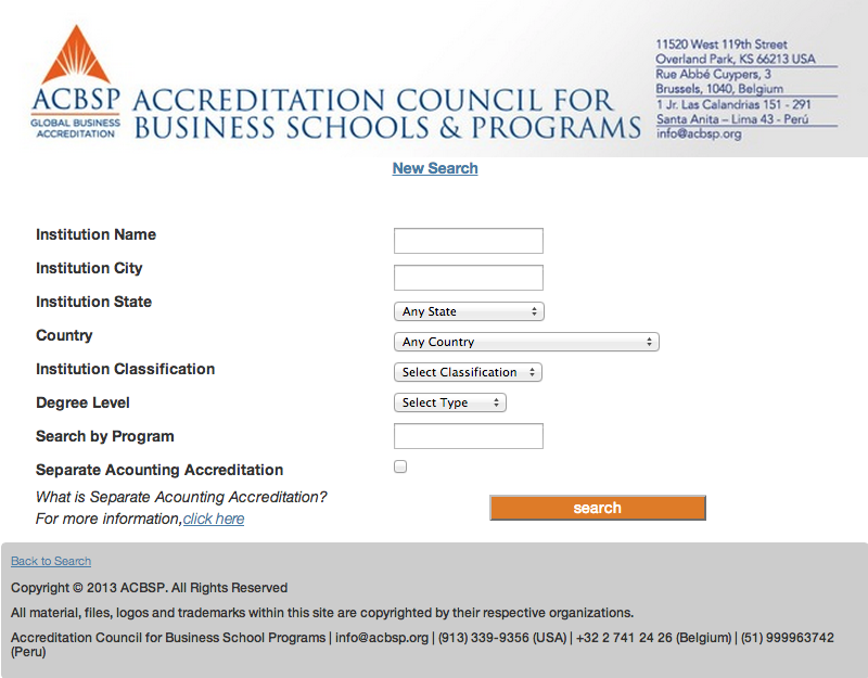 Screenshot of the Accredited Programs Search Tool