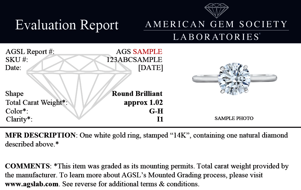 Mounted Diamond Evaluation Grading Report American Gem Society