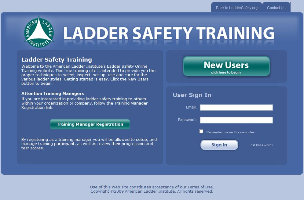 www.laddersafetytraining.org homepage screenshot