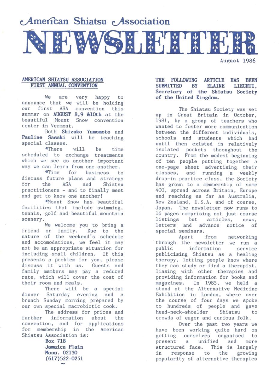First ASA Newsletter