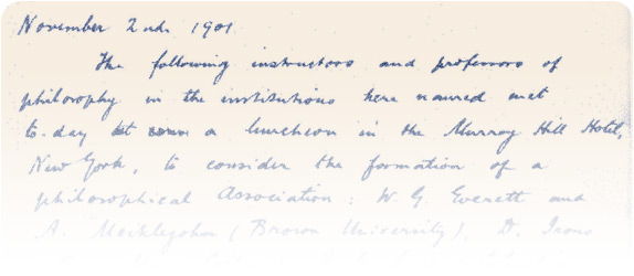 A few lines of the handwritten minutes of an APA meeting on November 2, 1901