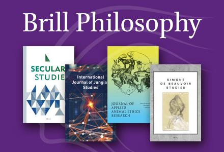 Brill Philosophy. Titles shown: Secular Studies, International Journal of Jungian Studies, Journal of Applied Animal Ethics Research, and Simone DeBeauvior Studies