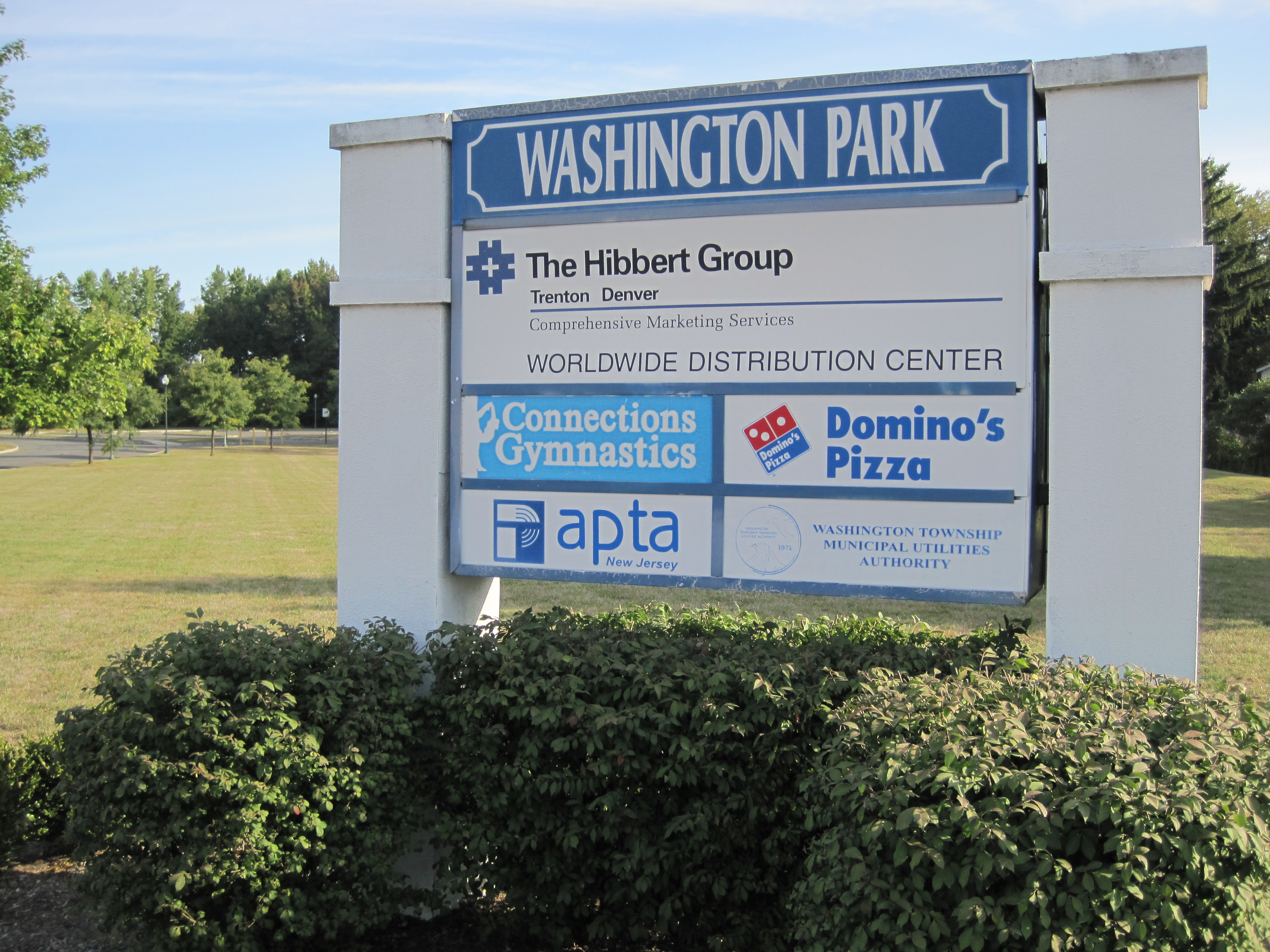 Washington Park sign near Route 130 southbound