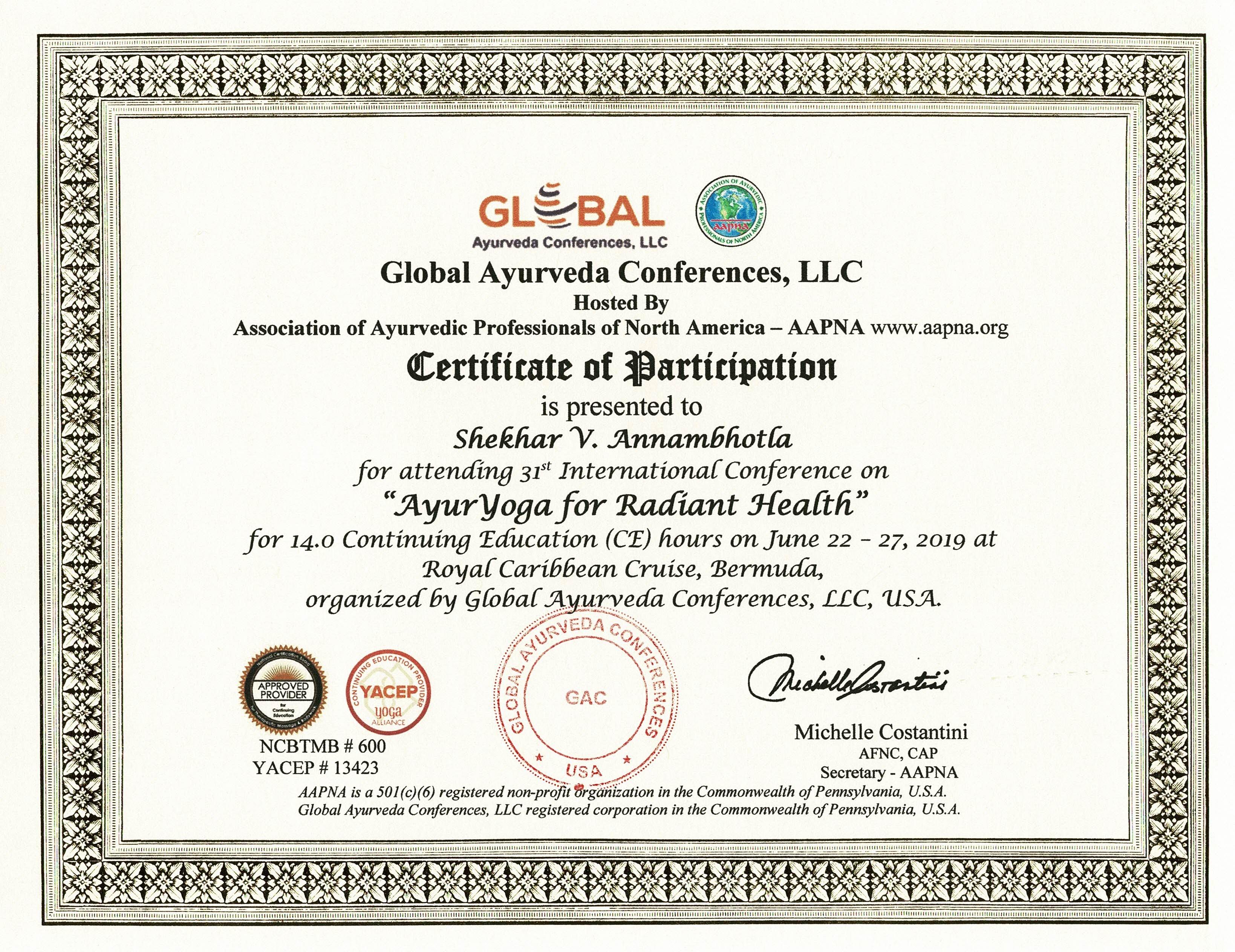 Dr  Shekhar Annambhotla BAMS MD (Ayu) LMT - National