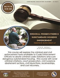 Criminal Prosecutions & Substandard Housing Enforcement - San Marcos, CA