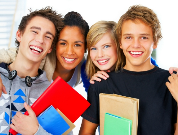 picture of group of teens at school