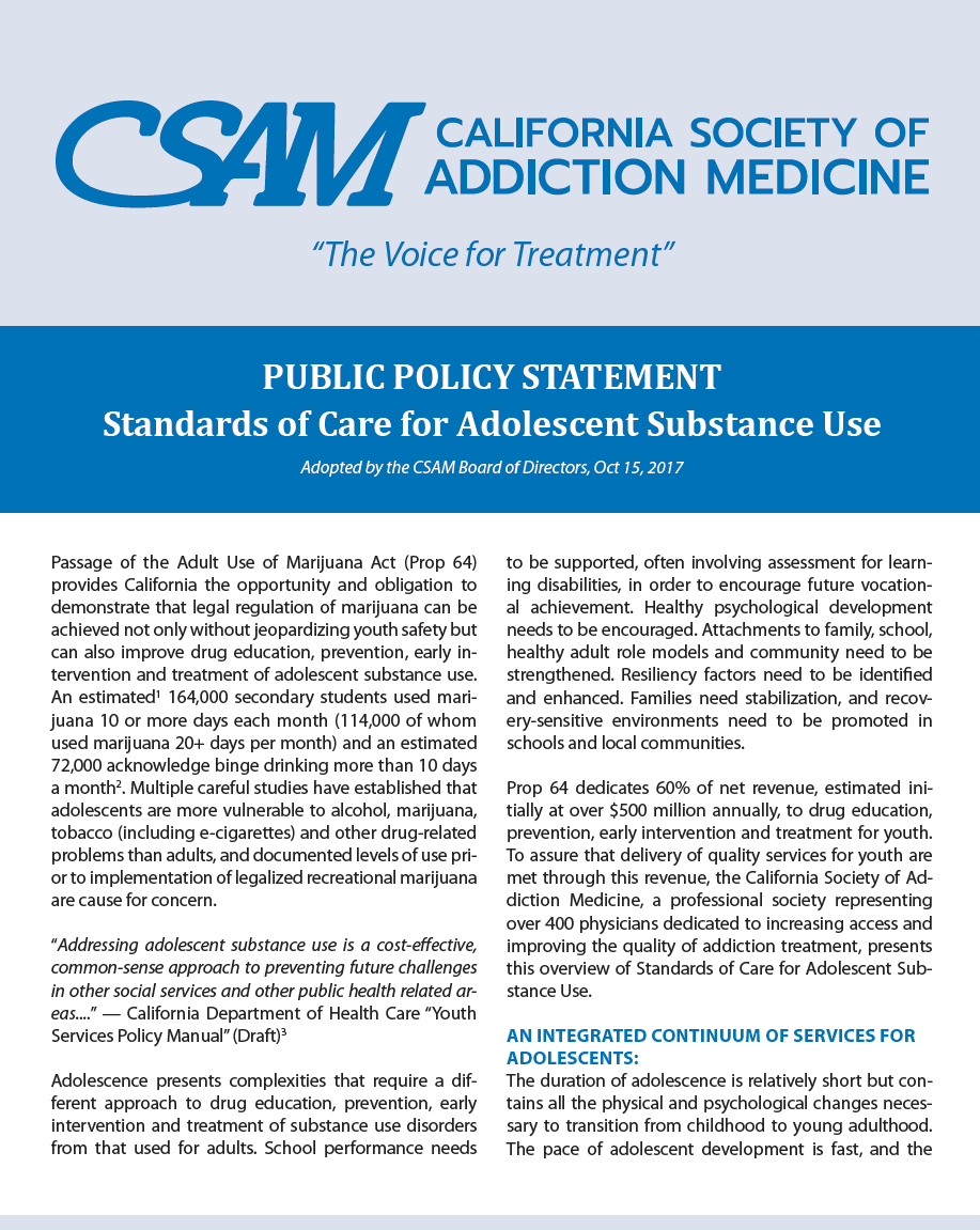 Standards of Care for Adolescent Substance Use cover