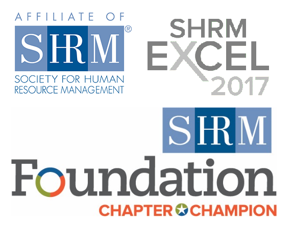 Affiliate of SHRM; SHRM Excel 2017 badge; SHRM Foundation Chapter Champion badge