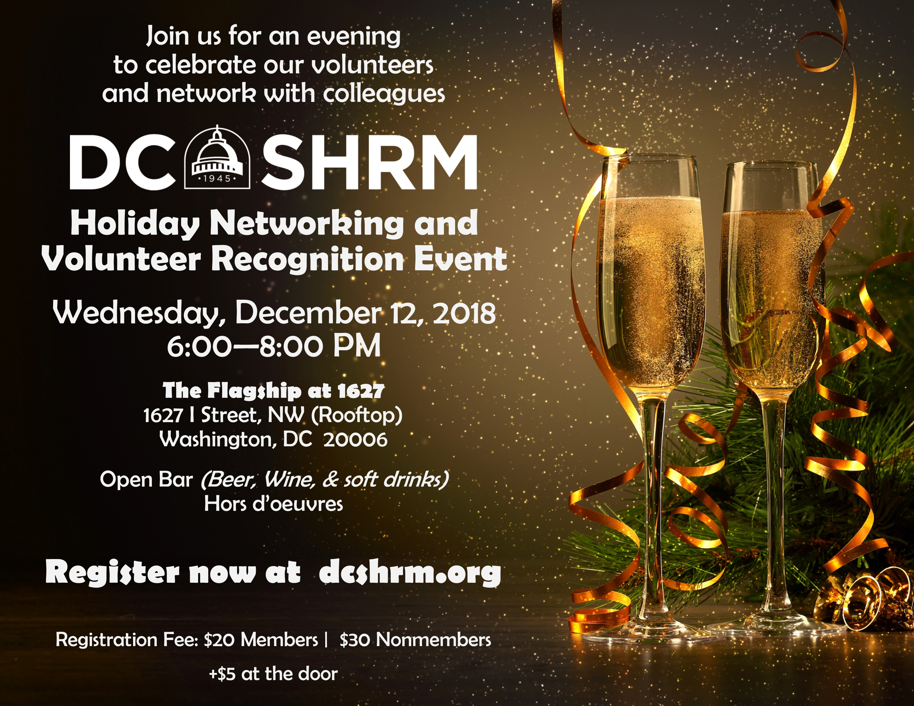 Join us for the DC SHRM Holiday Networking and Volunteer Recognition Event - December 12, 2018, 6 - 8 PM