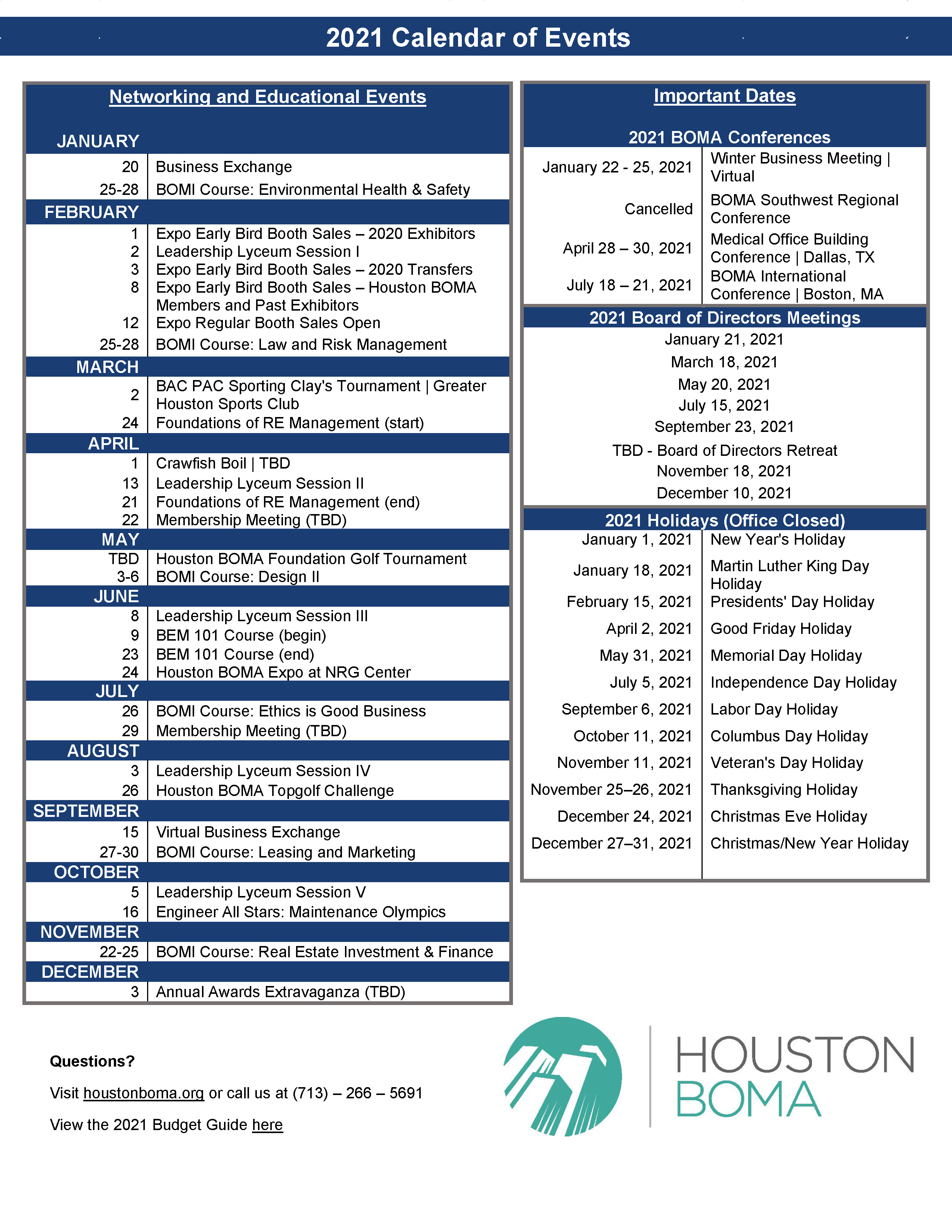 Houston Calendar Of Events 2021 Images