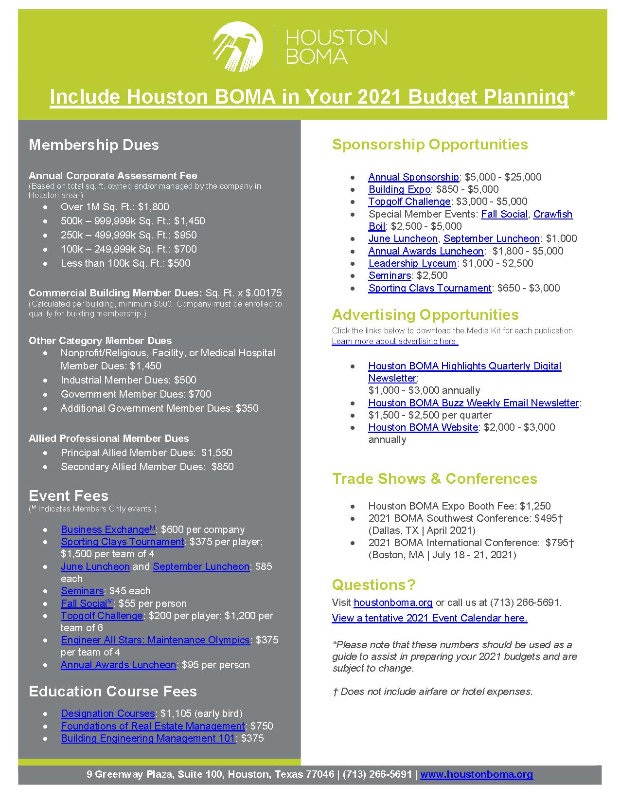 2021 Budget Guide and Calendar