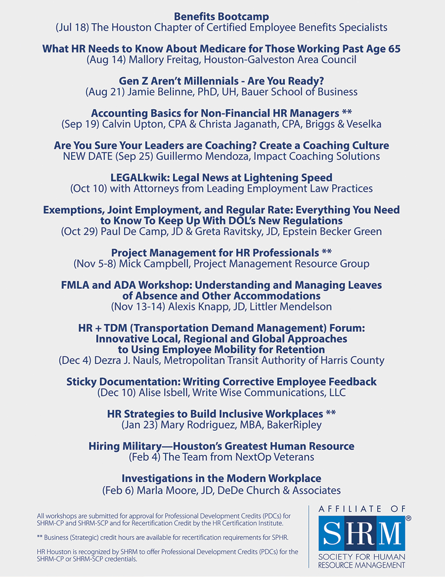 Houston Calendar Of Events August 2020.Seminar Series Hr Houston