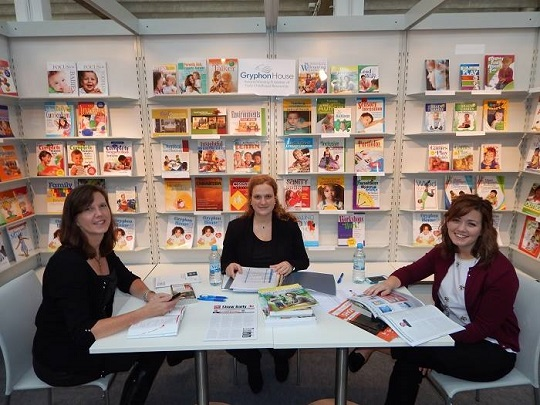 The team from Gryphon House await their first meeting during the 2014 Frankfurt Book Fair.