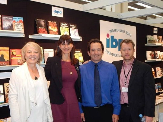 We'll be back next year! From left to right: IBPA member Deborah Parrish Snyder (Publisher, Synergetic Press), Angela Bole (Executive Director, IBPA), Terry Nathan (Chief Operations Officer, IBPA), and IBPA member Stephen Buda (Publisher, J. Ross Publishing, Inc.)