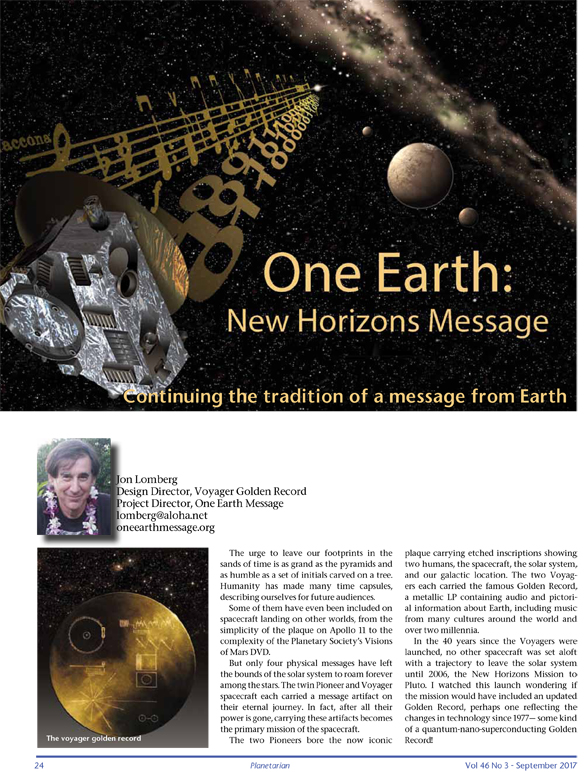 One Earth Message article