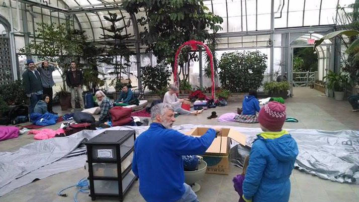 Setting up a portable in a greenhouse