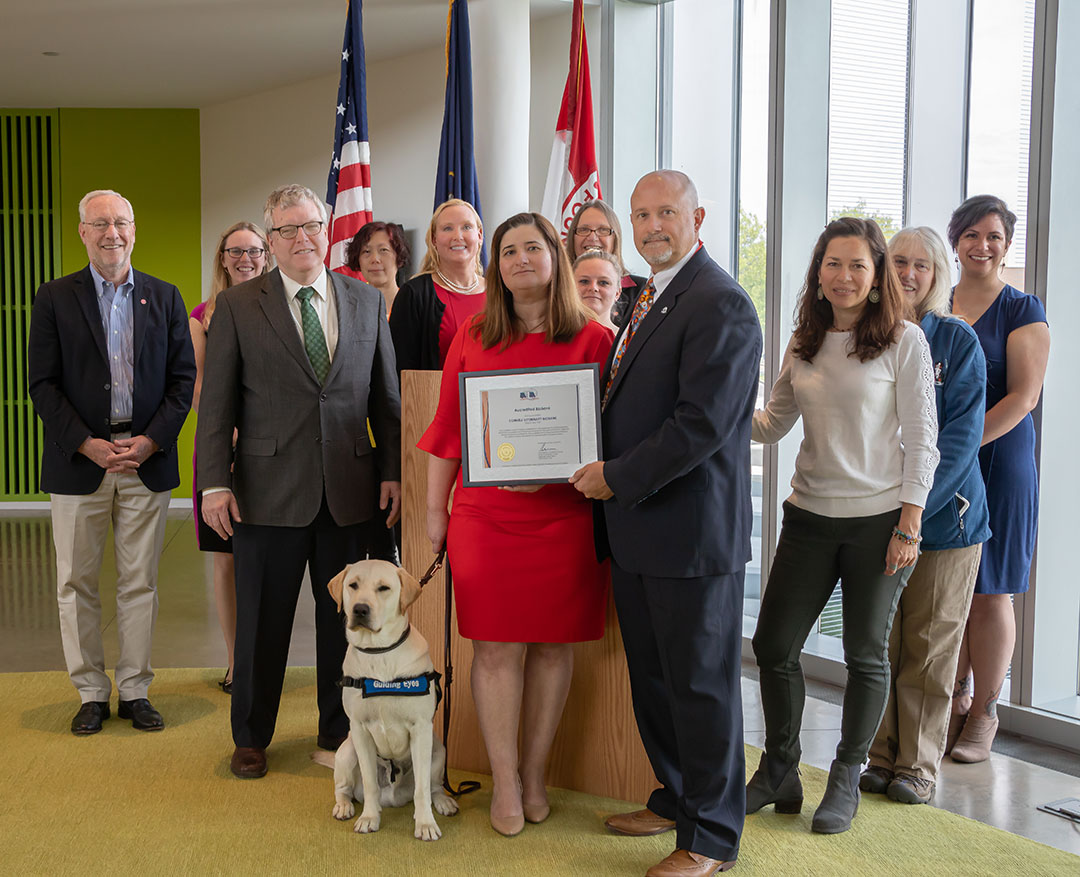 Cornell leadership, A2LAand biobank staff at a ceremony May 22 celebrating the Cornell Veterinary Biobank achieving international accreditation.