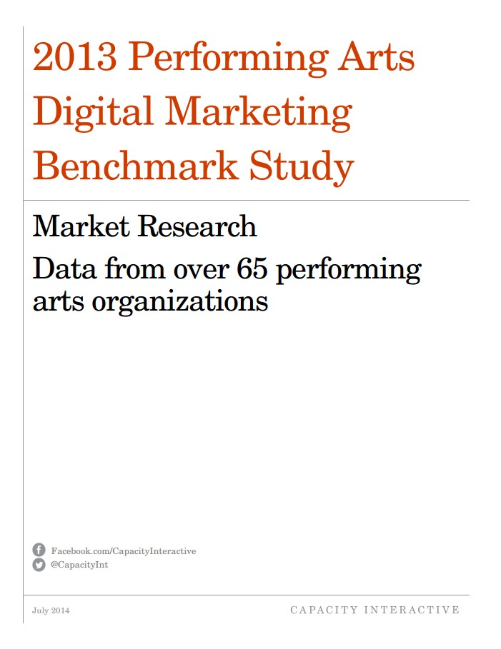 2013 Performing Arts Digital Marketing Benchmark Study