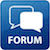 a blue icon with counterposed while speech balloons and the word forum
