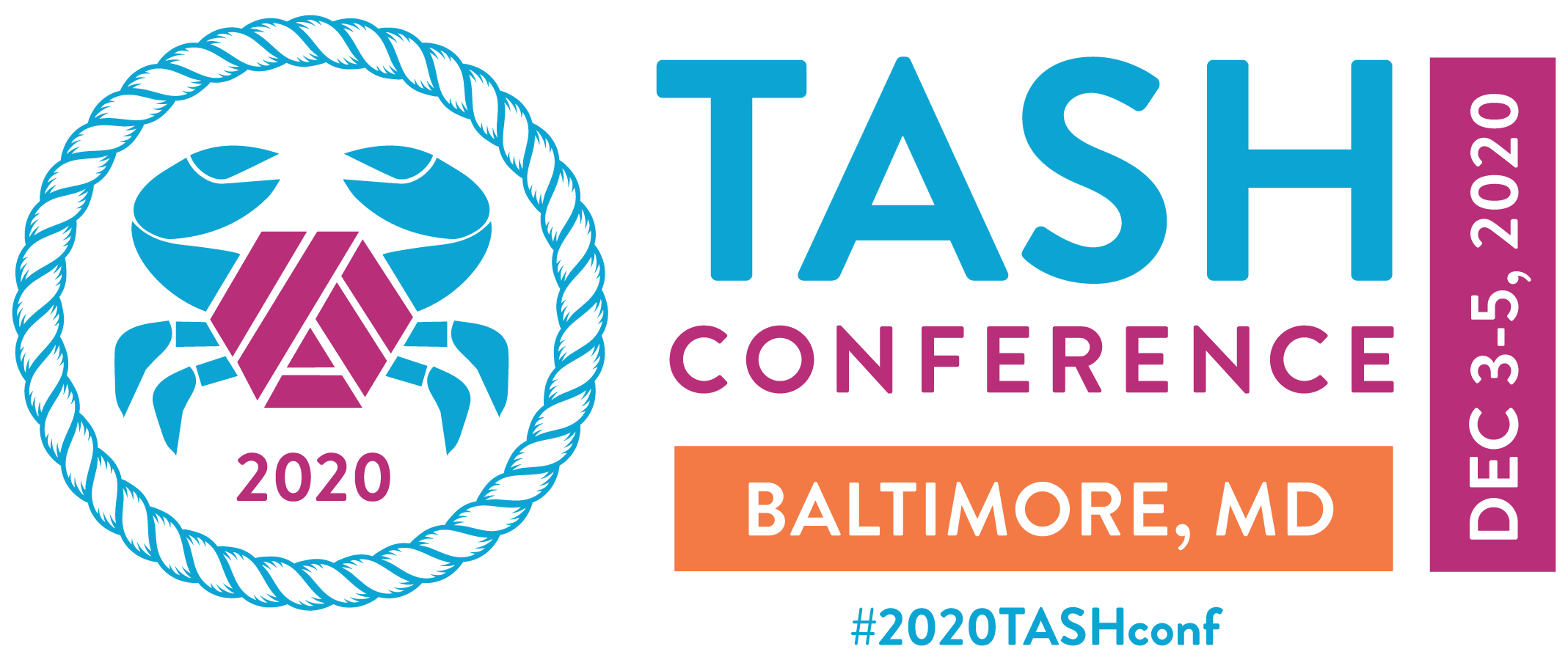 The Baltimore 2020 TASH Conference logo: an illustration of a crab with blue pinchers and legs sprouting from a purple version to the TASH Möbius strip.