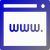 a shaded blue and grey icon that is a schematic of a computer GUI window with the characters W W W typed in it
