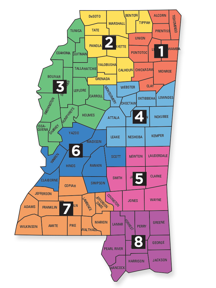 Mississippi Professional Educators Districts map