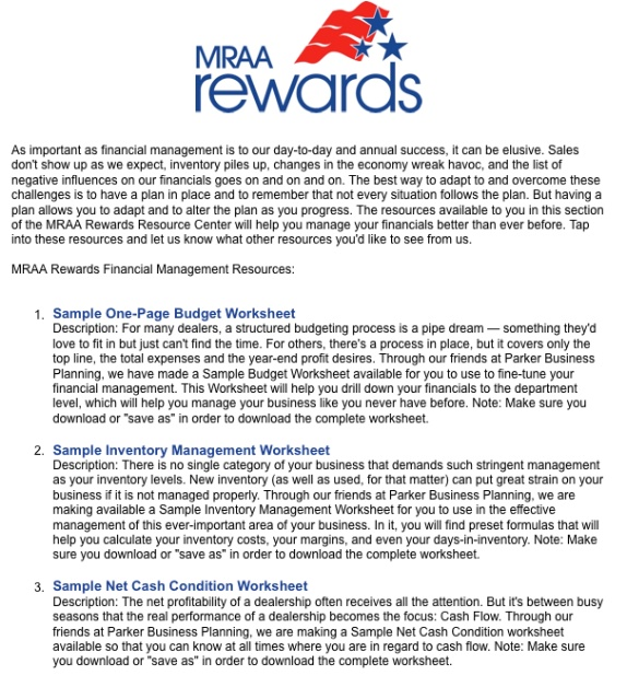 MRAA Rewards Picture