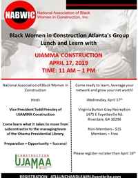 Atlanta Chapter Ujamma Construction Lunch and Learn