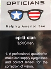 Opticians Reading Card