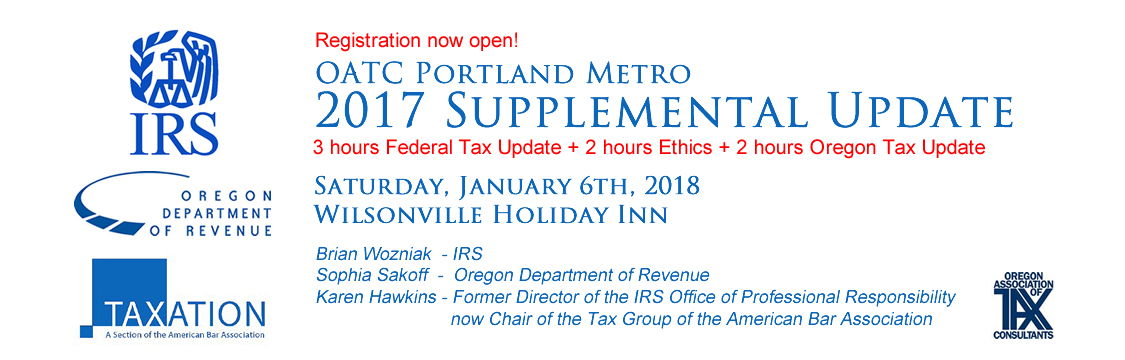 OATC Portland Metro 2017 Supplemental Update on January 6, 2018 - 7 hrs. CE