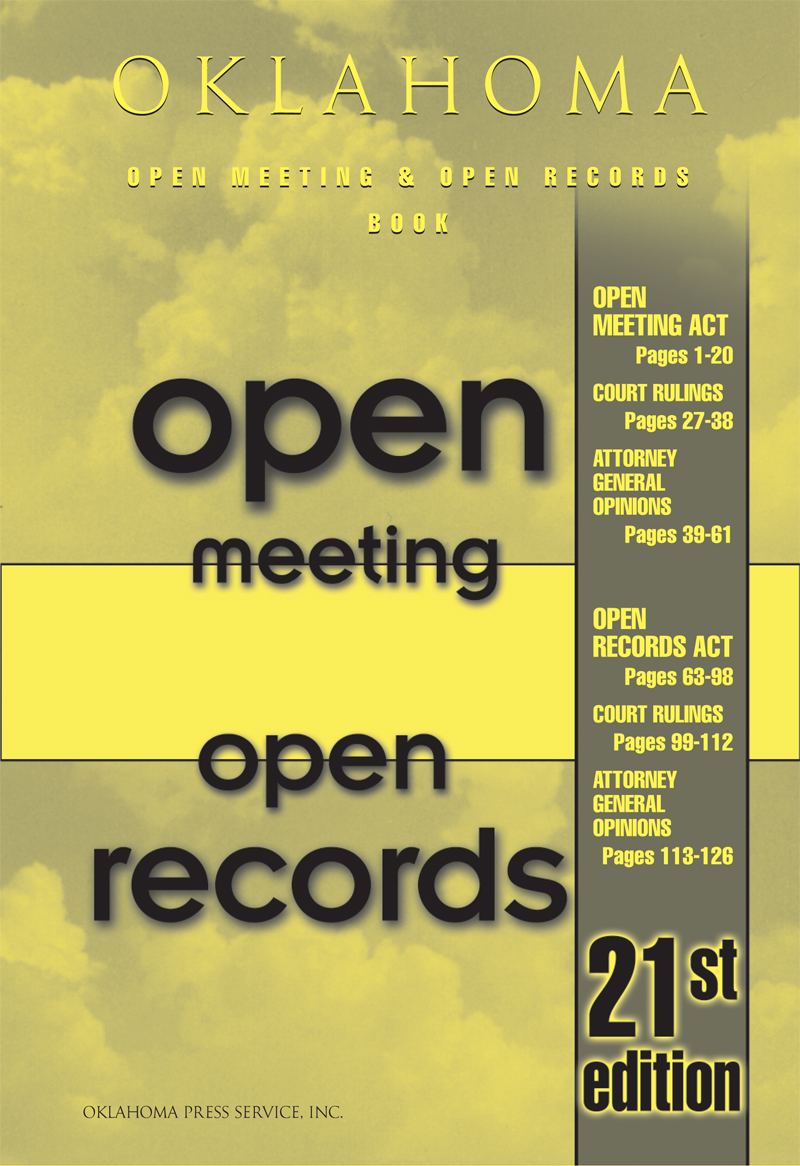 Yellow cover of open meeting and records book