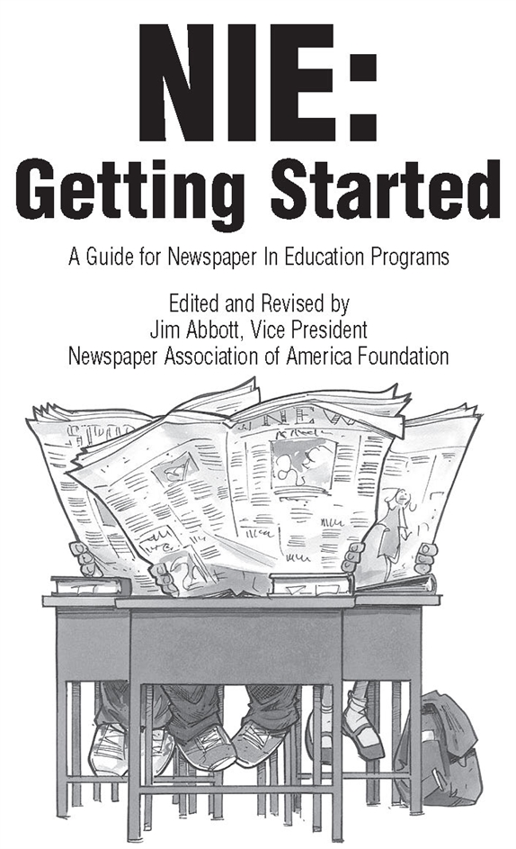 "Cover of ""Getting Started"" Booklet. Newspapers above a desk with kids feet under desk."