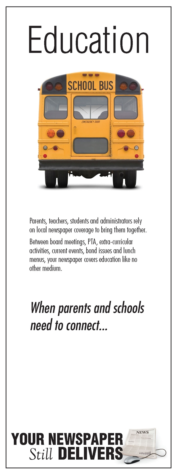 Word Education and pic of school bus with ad text