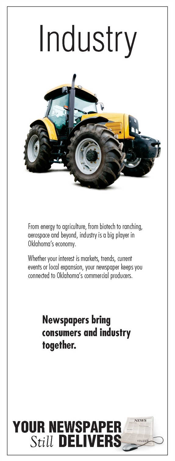 Word Industry and pic of tractor with ad text
