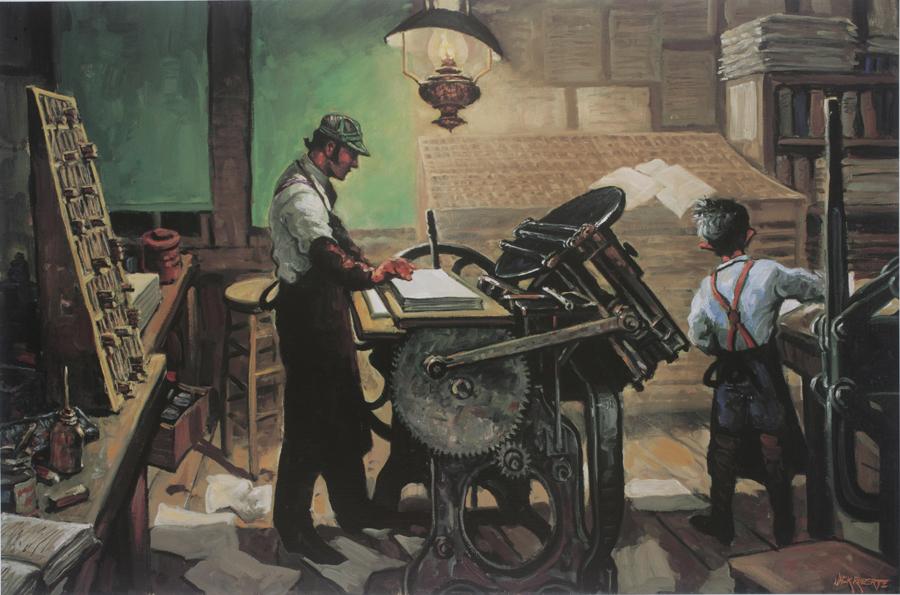 Old-style Job Printer print shows man standing at old printing machine
