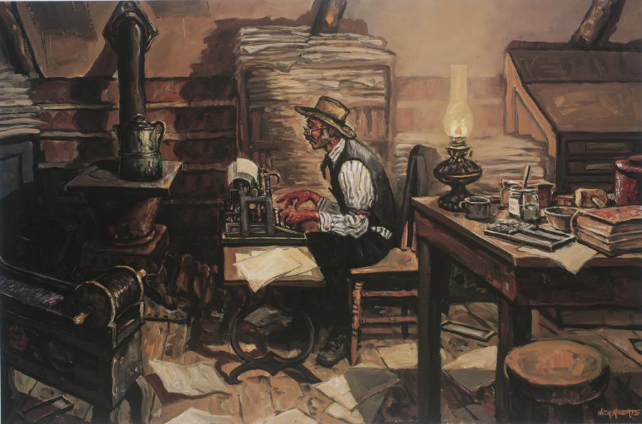 Old-style Editor print shows man at typewriter