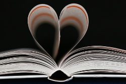 Book with pages in the shape of a heart