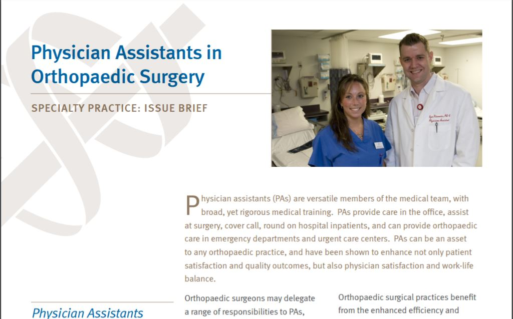 Document Library Physician Assistants in Orthopaedic Surgery – Physician Assistant Job Description