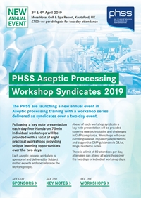 PHSS Aseptic Processing Workshop Syndicates 2019 - Sponsors