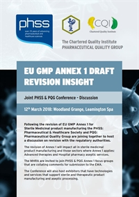EU GMP Annex 1 draft : Revision insight Joint PHSS & PQG Conference