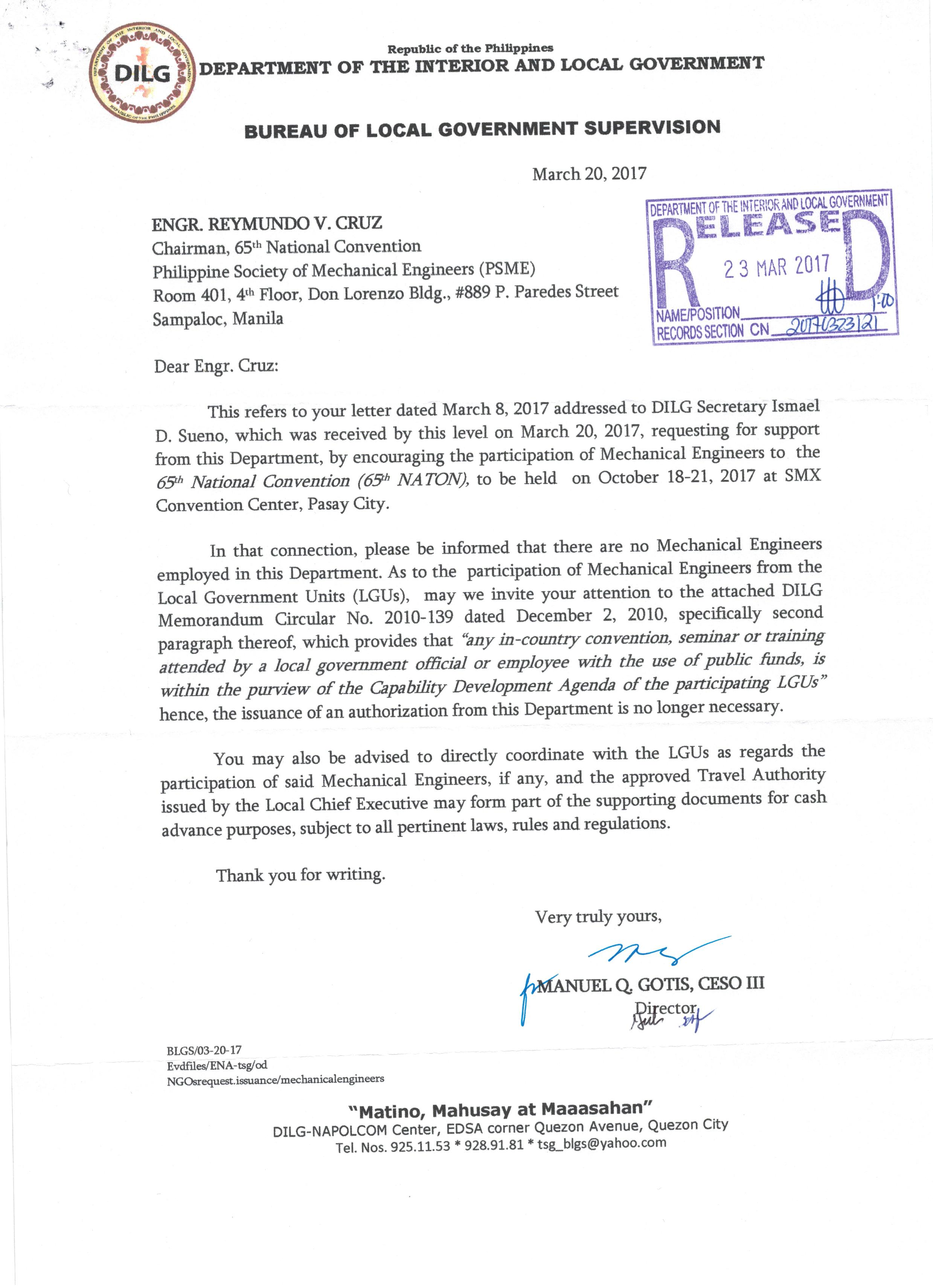 65th psme national convention 2017 philippine society of dilg endorsement letter stopboris Gallery