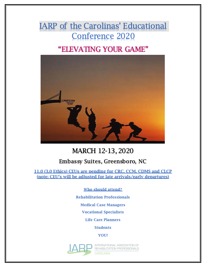 IARP of the Carolinas' Educational Conference 2020-ELEVATING YOUR GAME