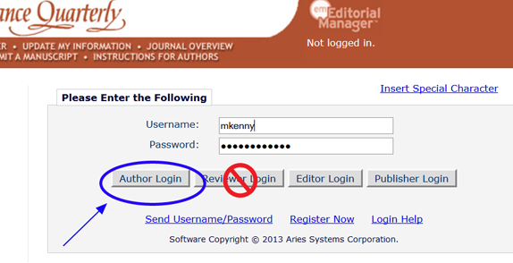 Screenshot of Editorial Manager login screen