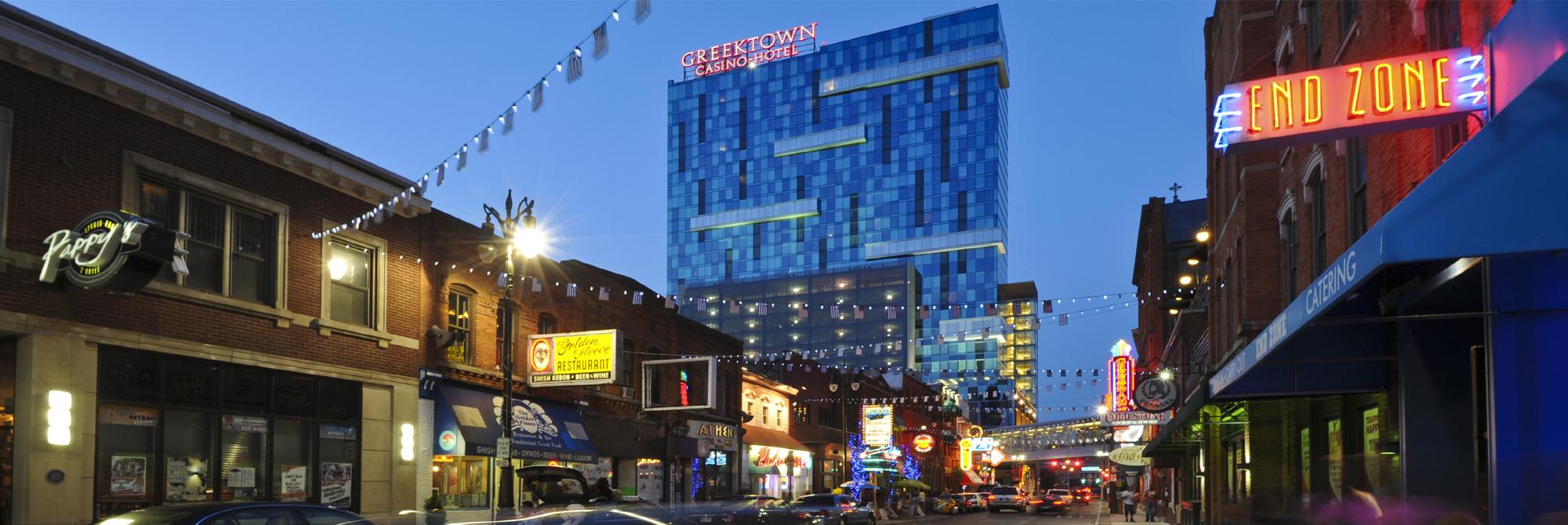 Downtown Detroit's Greektown area. Photo by Vito Palmisano. Courtesy of Detroit CVB