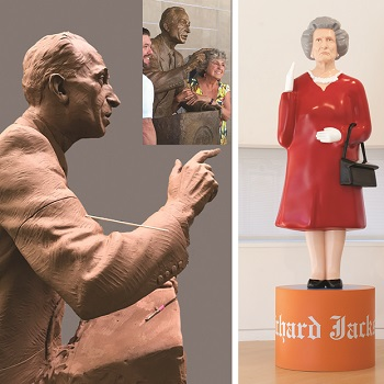 LEFT TO RIGHT: Eugene Daub, Harry Bridges.Work in Progress.; Richard Jackson, My Self Portrait as the Queen of England, 2018-2019. Photo: Brian Suhr.