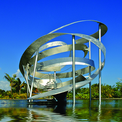 Alice Aycock, Whirls and Swirls and a Vortex on Water, 2008. Aluminum and acrylic, 20 x 34 x 20 ft. Central Broward Regional Park, FL.