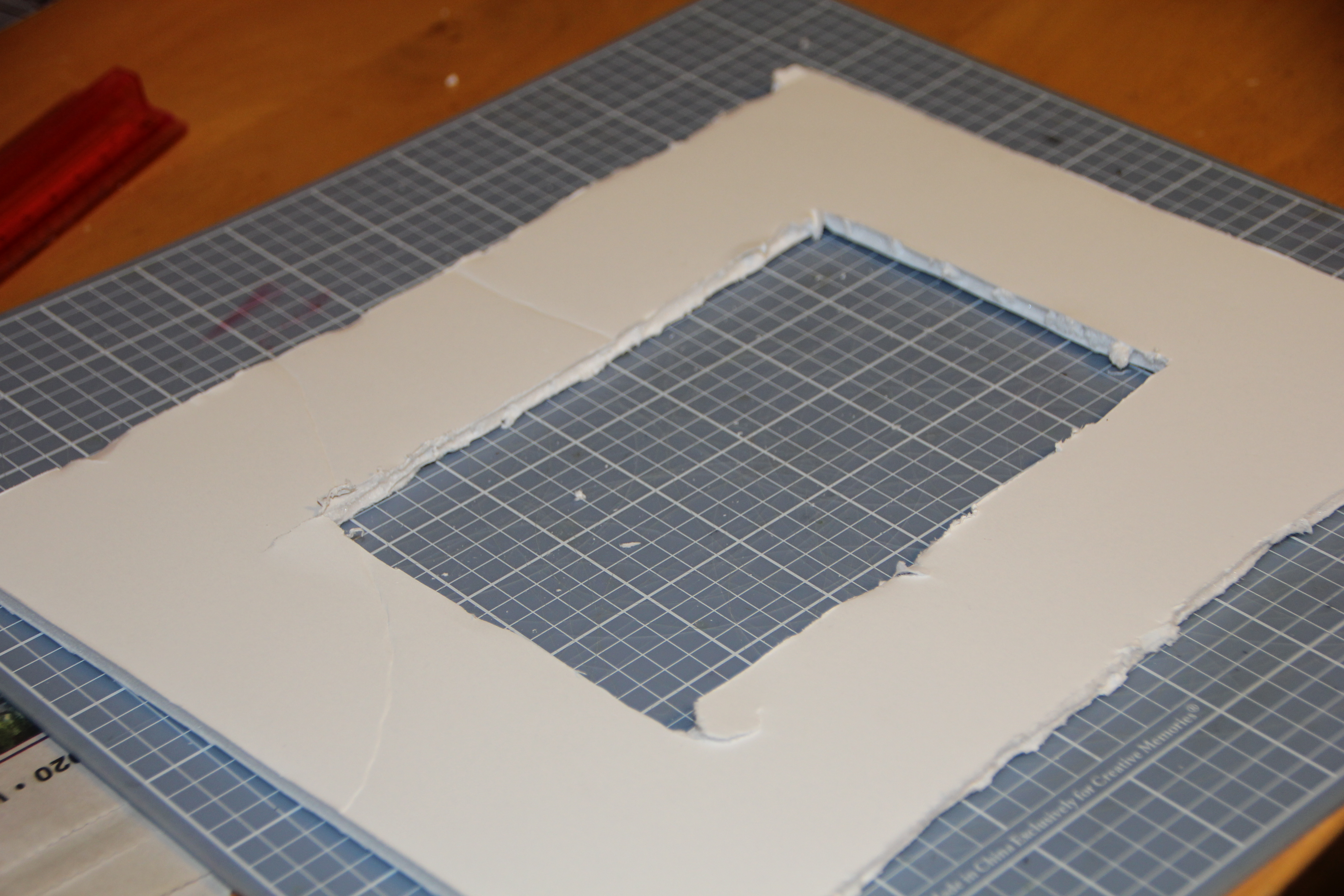 Foam board after cutting frame