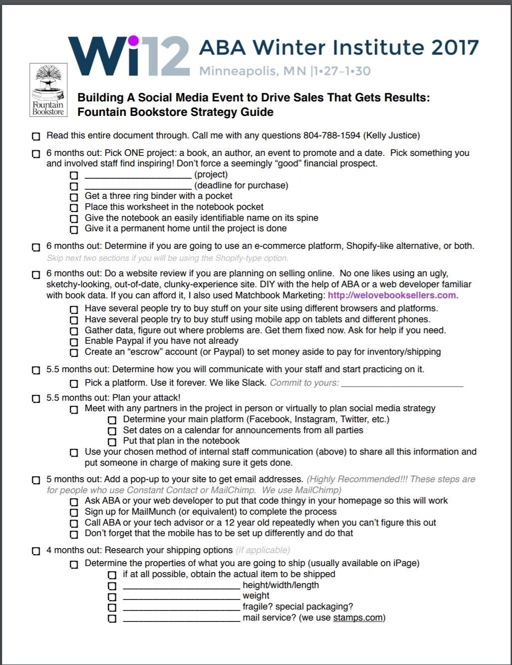 Social Media Event Checklist