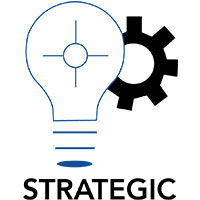 Strategic Logo, Lightbulb and gear
