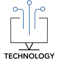 Technology Logo, Computer transacting Data